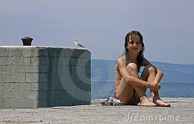Gull and girl in vacation