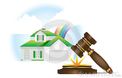 Home and gavel real estate