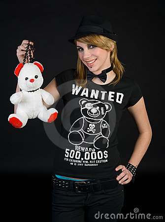 EMO teen girl with teddy bear