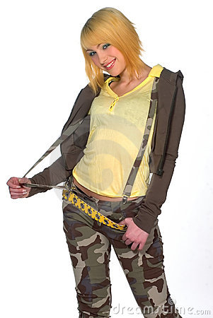 Teen girl in camouflage clothes