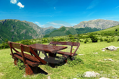 Table and seats in the high mountains of Bulgaria