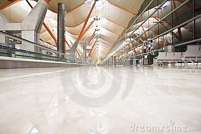 Deserted airport terminal