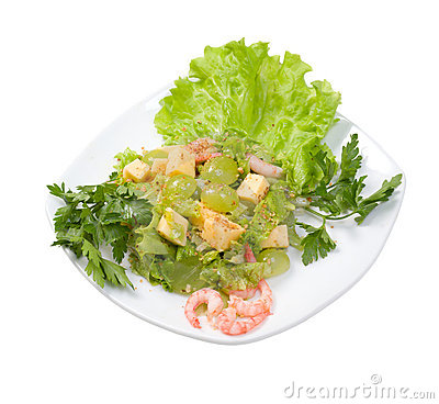 Salad with seafood and vegetable