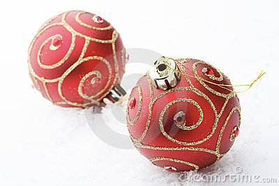 Red Christmas bauble decorations.