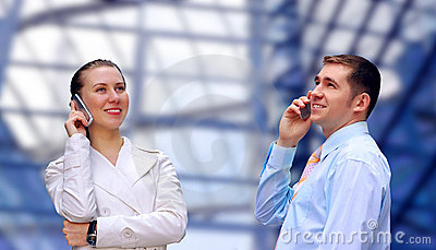Businessmens calling by phone