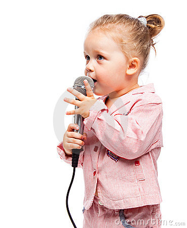 Little girl with microphone