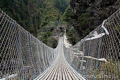 Pendant bridge with buddhist prayer flags