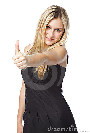 Young woman with thumbs up with a laughing