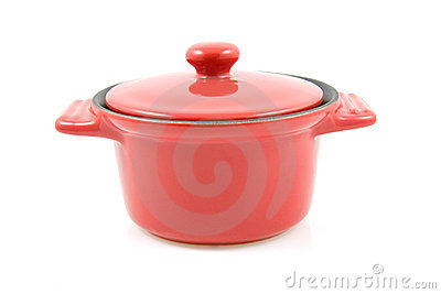 Red casserole isolated on white