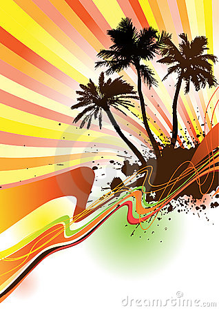 Palm trees with text area Vector