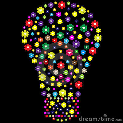 Lightbulb made of flowers