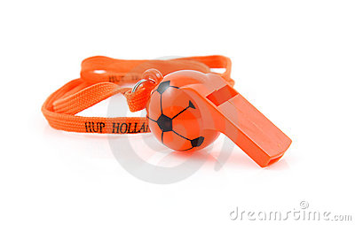 Orange flute in shape of soccer ball