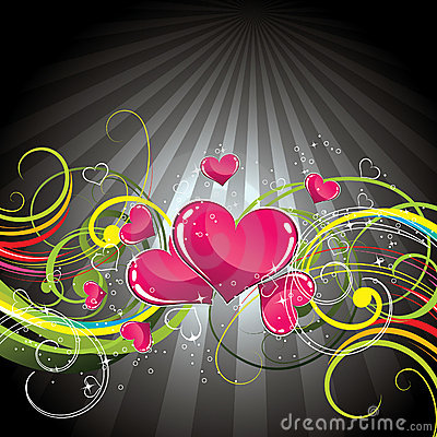 Floral love heart background
