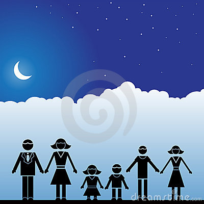 Night Sky Scene - Family