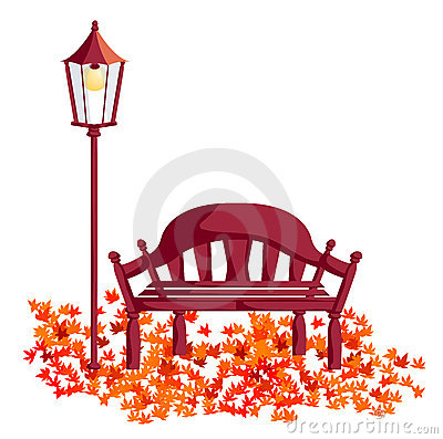 Wood chair, street lights, maple leaves