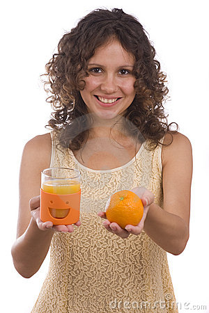 Woman with orange and orange juice.