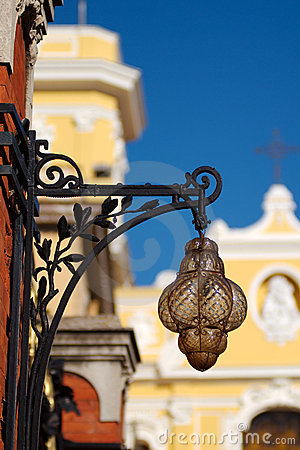 Antique Lamp and Cathedral, Sorrento, Italy