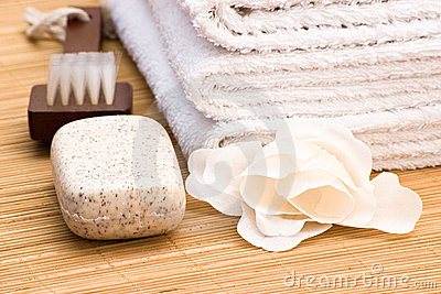 Soap brush and towel