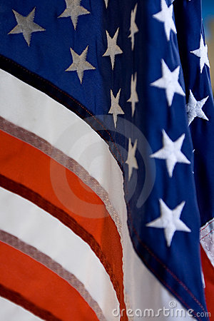 Closeup of the stars and stripes flag