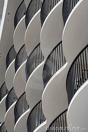 Curved white hotel balconies