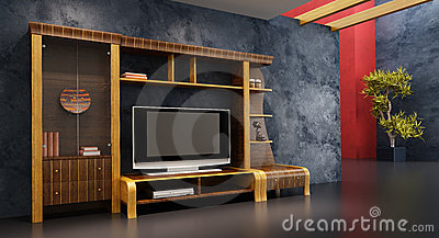 Lounge room interior with bookshelf and TV