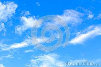 Blue sky with white clouds on sunny summer or spring day.
