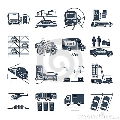 stock image of set of black icons municipal transport, public utility