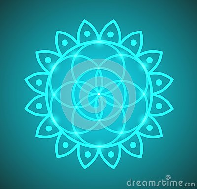 Vector Flower of Life Sacred Geometry in Lotus Flower Illustration