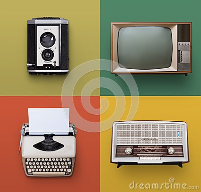 stock image of retro electronics set