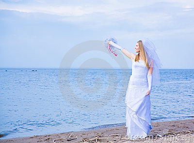 Bride on seacoast