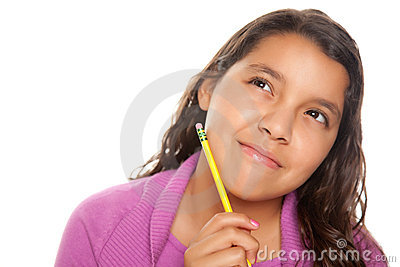 Pretty Hispanic Girl Thinking with Pencil