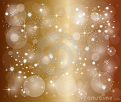 Golden christmas background with stars