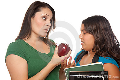 Hispanic Mother and Daughter with Books & Apple