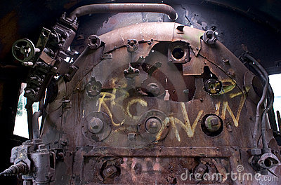 Old rusty steam engine
