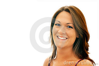 Smiling Brunette Girl Isolated