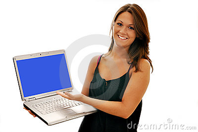 Smiling Girl Pointing at Computer Isolated