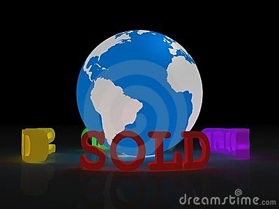 Planet Earth with sold sign