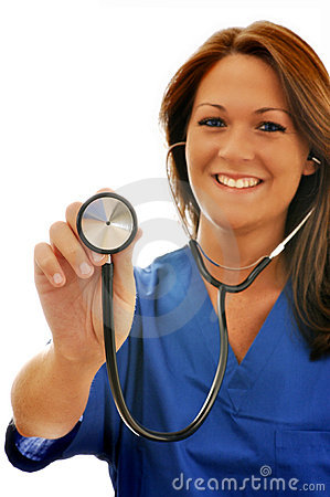 Smiling Female Nurse with Stethoscope at Camera
