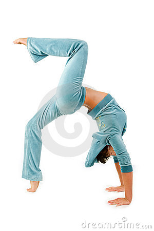 Bending gymnastics woman