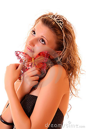 Girl and butterfly