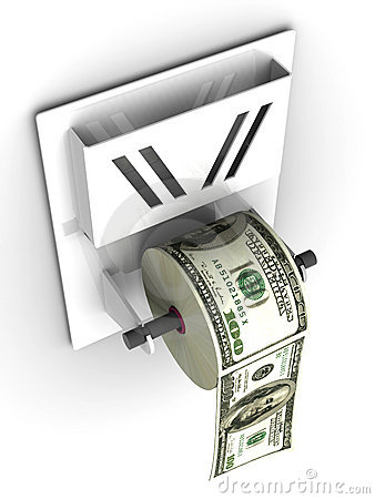 Dollar in the toilet paper