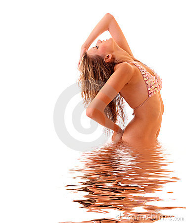 Woman in bikini in water