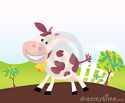 Cow on farm. Vector cartoon.