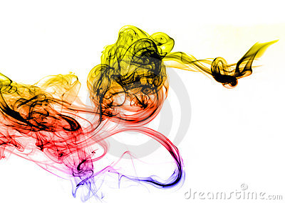Colored gradient Smoke abstract over white