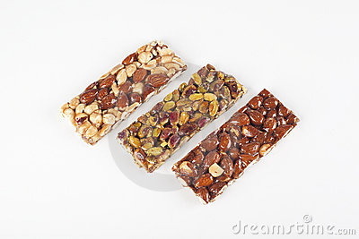 Cereal bars with almonds, nuts and honey