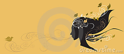 Beautiful girl with flowers in hair illustr