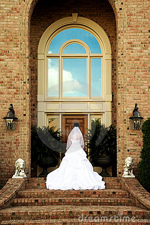 Bridal Portrait On Steps Back View