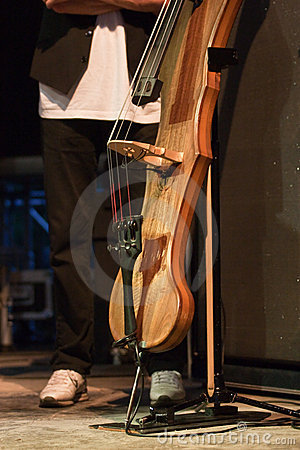 Electric contrabass with the artist on the stage