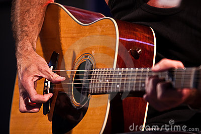 Guitarist hand with an classical guitar