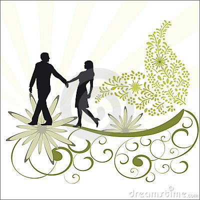 Foliage vine and romantic couple